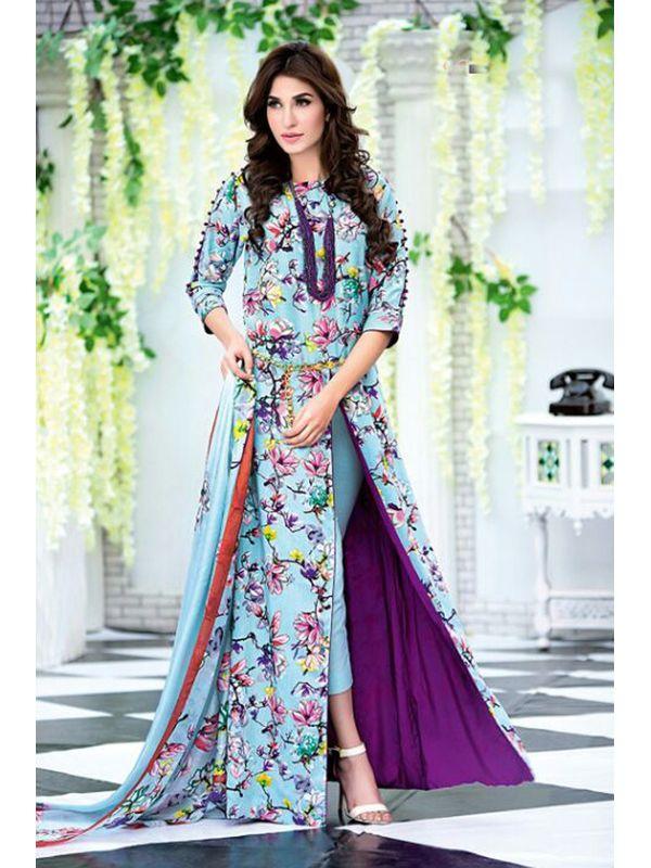 Pakistani Un-stitched Sky Blue Pure Cotton Lawn Suit
