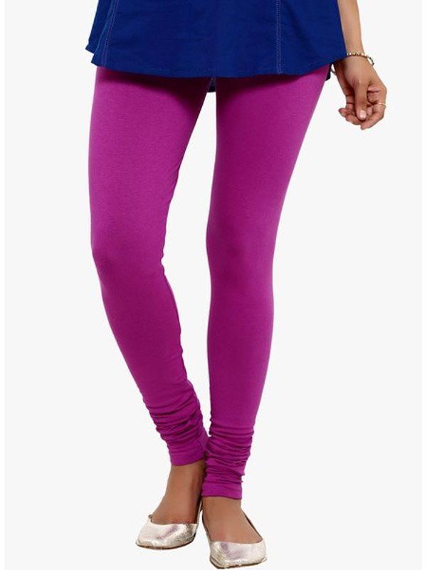 Solid Purple Cotton Slim Fit Legging