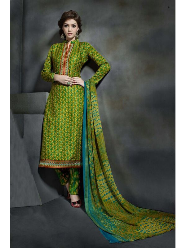 Pashmina Green Color Printed Suit With Pure Chiffon Dupatta