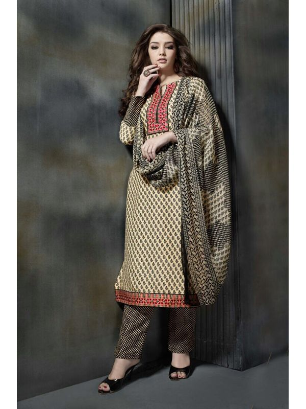 Pashmina Light Beige Color Printed Suit With Pure Chiffon Dupatta