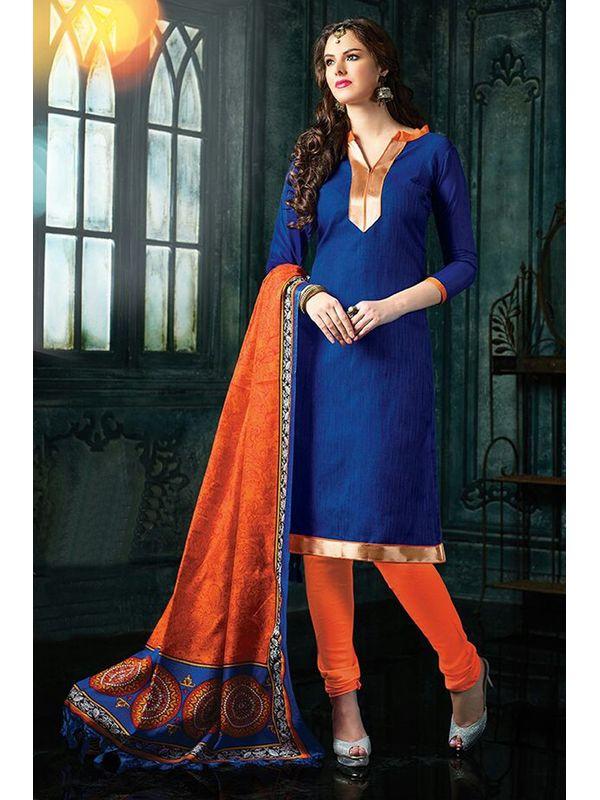 Dazzling Blue Color Jute Silk Suit Material With Bhagalpuri Dupatta