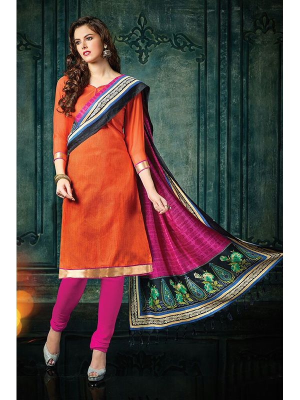 Dazzling Orange Color Jute Silk Suit Material With Bhagalpuri Dupatta