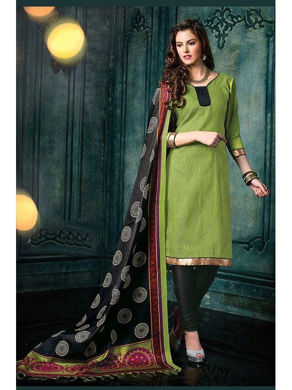 Dazzling Green Color Jute Silk Suit Material With Bhagalpuri Dupatta