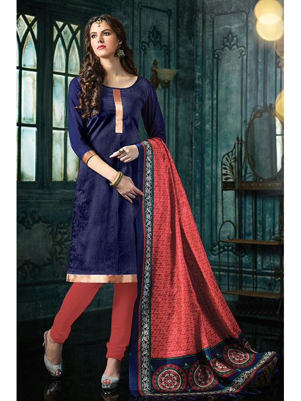 Dazzling Purple Color Jute Silk Dress Material With Bhagalpuri Dupatta