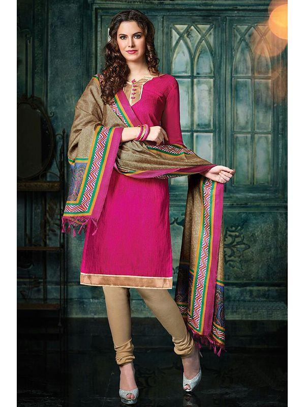 Dazzling Magenta Color Jute Silk Suit Material With Bhagalpuri Dupatta
