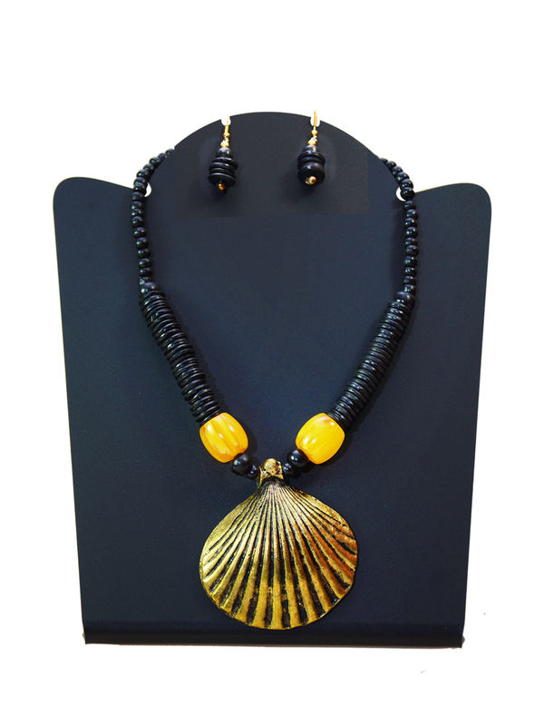 Black Beaded Tribal Necklace With  Earrings