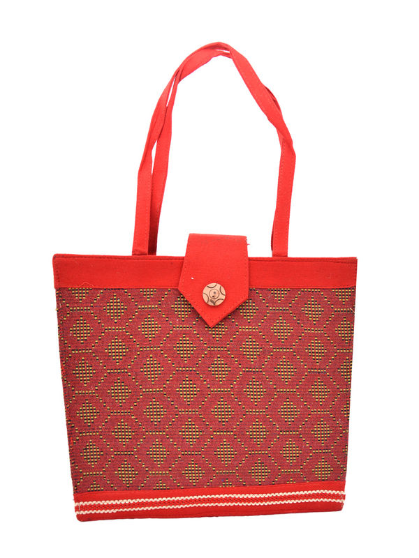 Hand Crafted Women Red  Ethnic Red Handbag