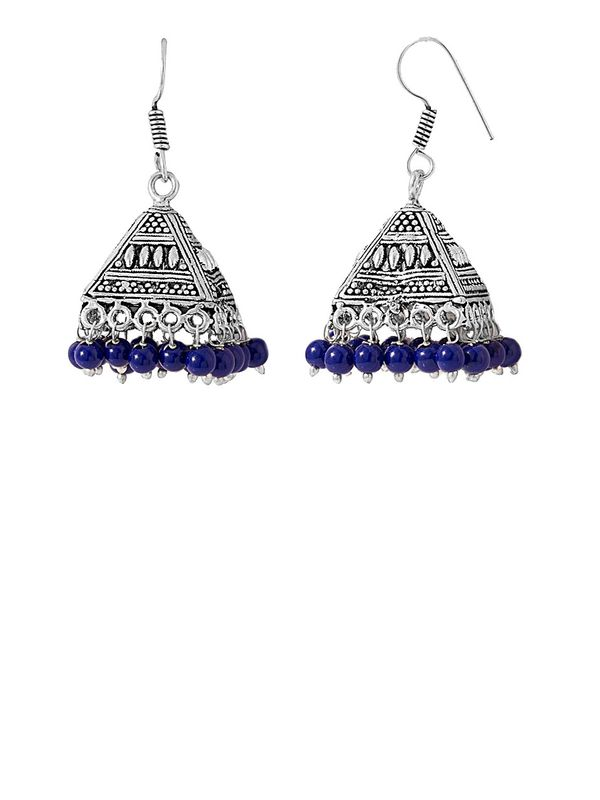 Oxidised Triangular Silver Ethnic Jumkis with Blue Pearls