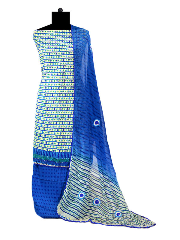 Hand Embroidered Blue Cotton Suit With Embroidered Pure Chiffon Dupatta