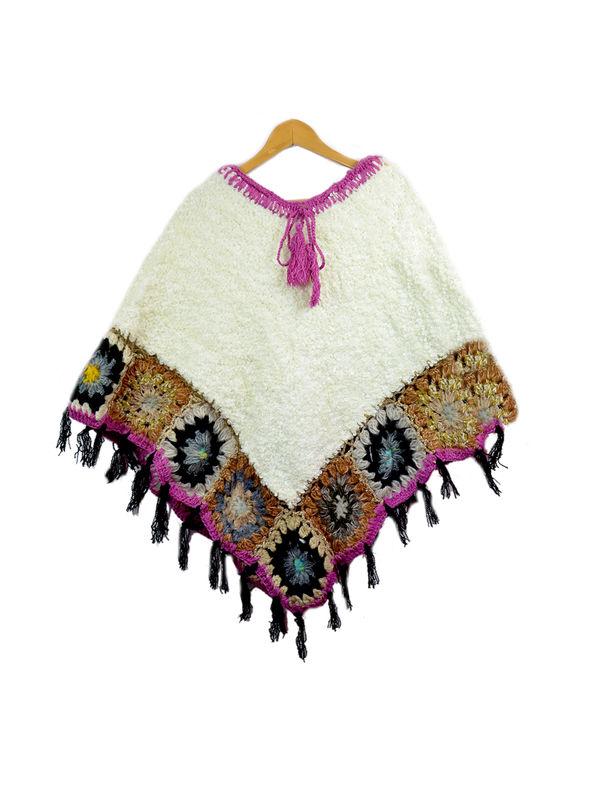 Stylish Warm YAK WOOL White Pink Handwoven Poncho