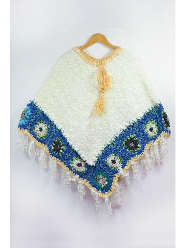 Stylish Warm YAK WOOL White Blue Handwoven Poncho