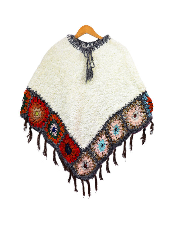 Yak Wool Red White Handwoven Poncho