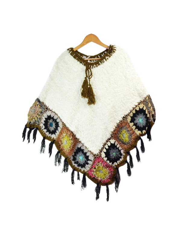 Yak Wool White Brown Multi-Color Handwoven Poncho