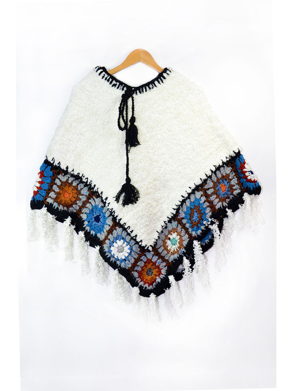 Yak Wool White Black Multi-Color Handwoven Poncho