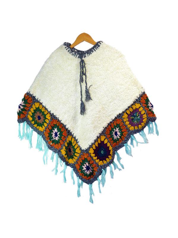 Yak Wool White Grey Handwoven Poncho