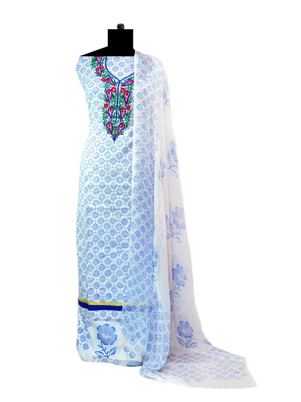 White Blue Printed Pure Cotton Suit With Embroidery  Paired With Pure Chiffon Dupatta
