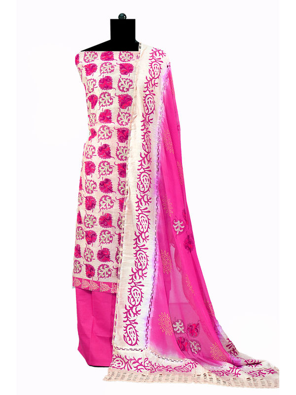 Maroon Color Chanderi Silk Un-Stitched Embroidered Suit With Pure Chiffon Dupatta
