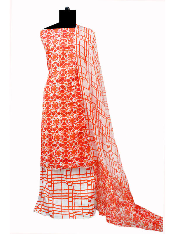Pure Cotton White Orange Batik Printed Suit With Pure Chiffon Dupatta