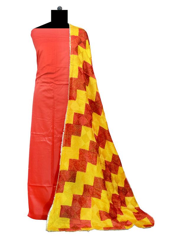 Phulkari Red Yellow Cotton Self Printed Suit With Full Jaal Phulkari Dupatta
