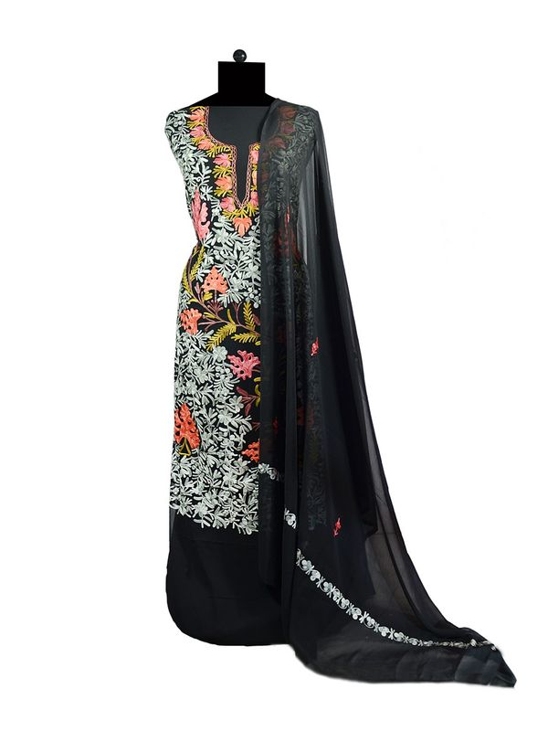 Black Kashmiri Aari Work Pure Georgette Suit