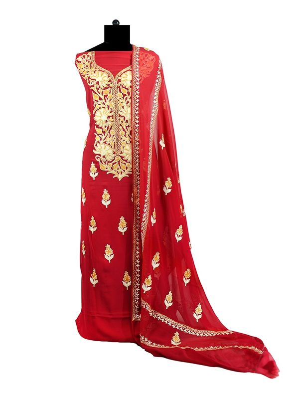 Red Kashmiri Aari Work Pure Georgette Suit