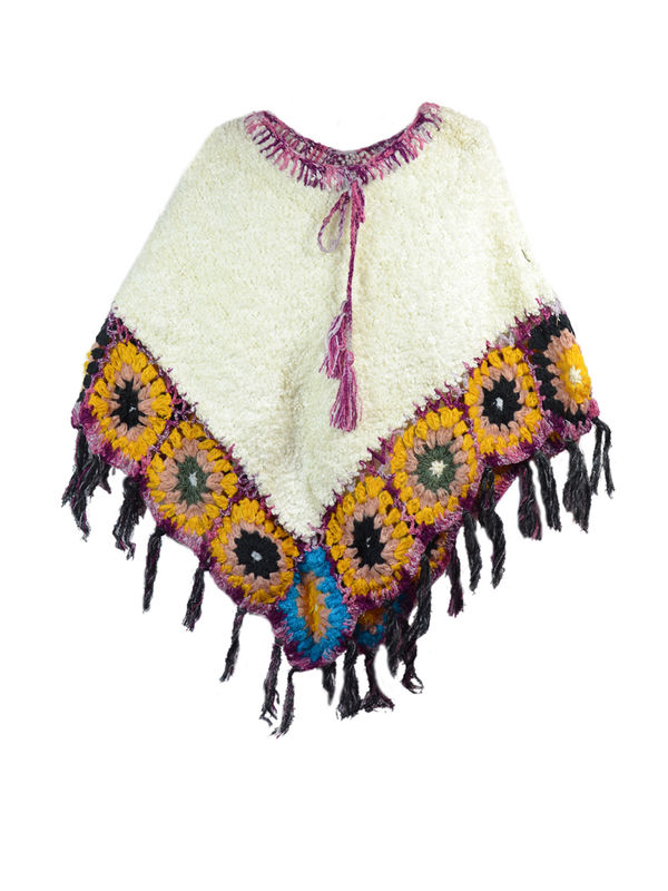 Stylish Warm Yak Wool White With Yellow  Handwoven Poncho