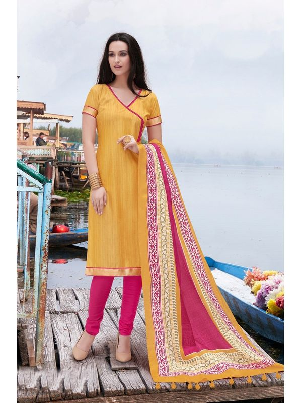 Yellow Color Bhagalpuri Silk Un Stitched Suit With Dupatta