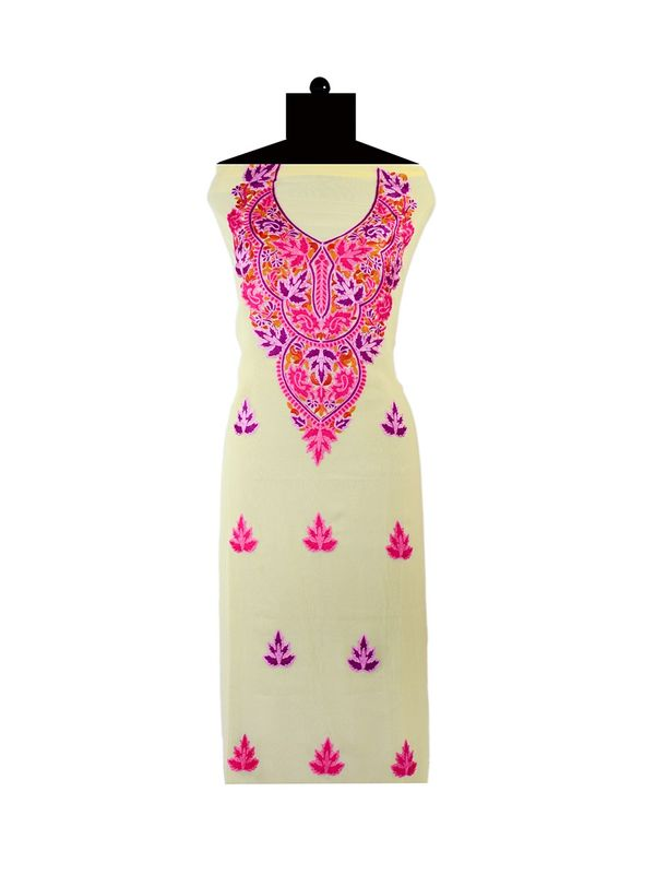 Yellow Embroidered Unstitched Georgette Kurti