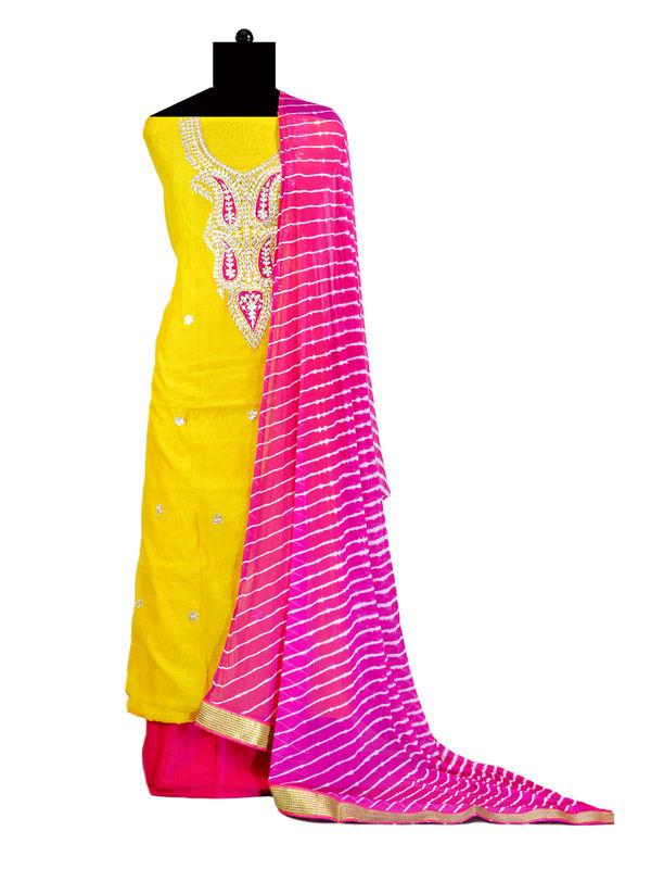 Yellow Magenta Formal Chanderi Suit With Gotta Patti Work