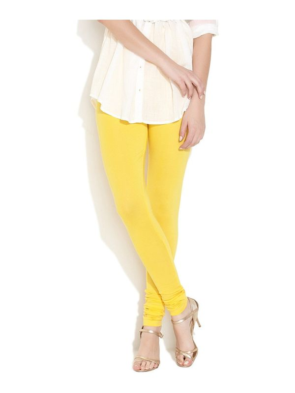 Yellow Cotton Slim Fit Legging