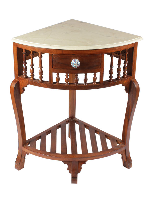 Teak Wood Corner Table With Marble Top. U2039