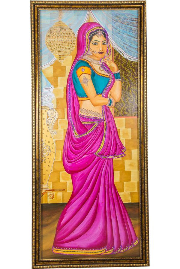 Maharani - Hand painted art combined with crafty jewellery - Size 75(H) Inch * 35(W) Inch