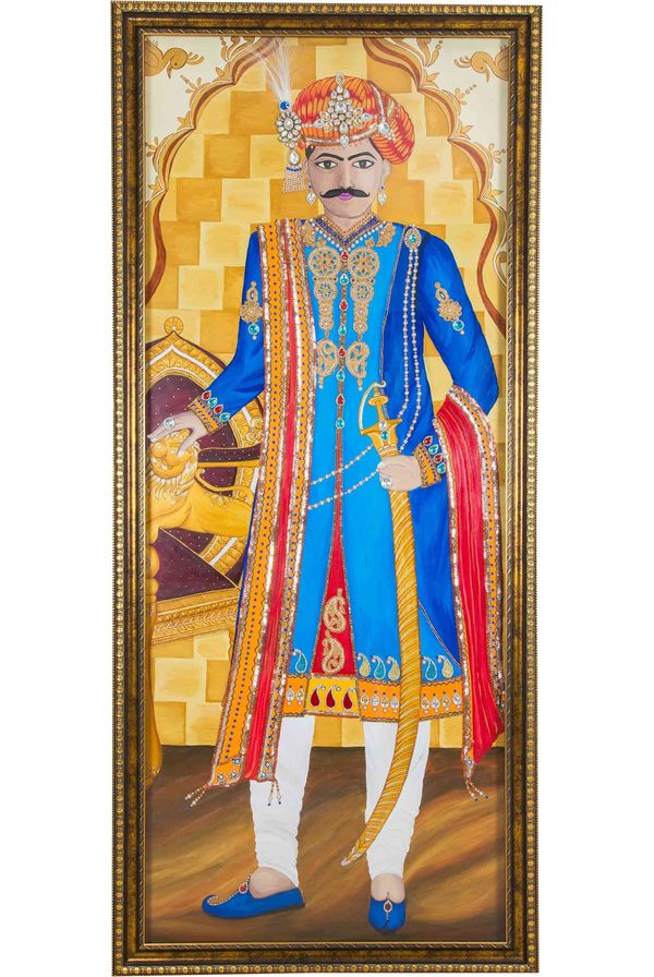 Maharaja - Hand painted art combined with crafty jewellery - Size 75(H) Inch * 35(W) Inch