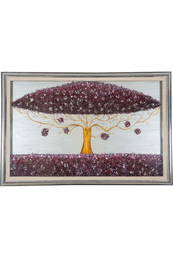 Splendid Tree - Hand painted art combined with crafty wooden chips - Size 33.8(H) Inch * 50.8(W) Inch