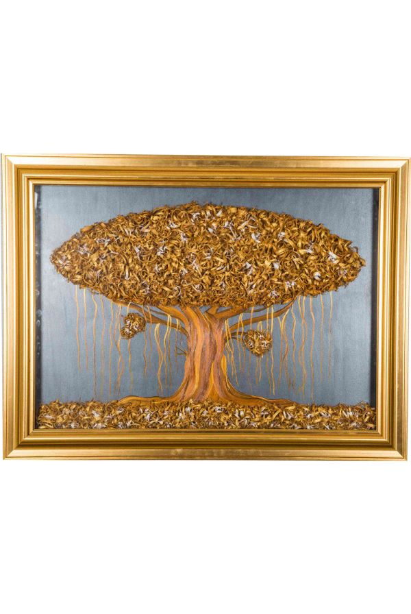Golden Tree - Hand painted art combined with crafty wooden chips - Size 29.6(H) Inch * 39.8(W) Inch
