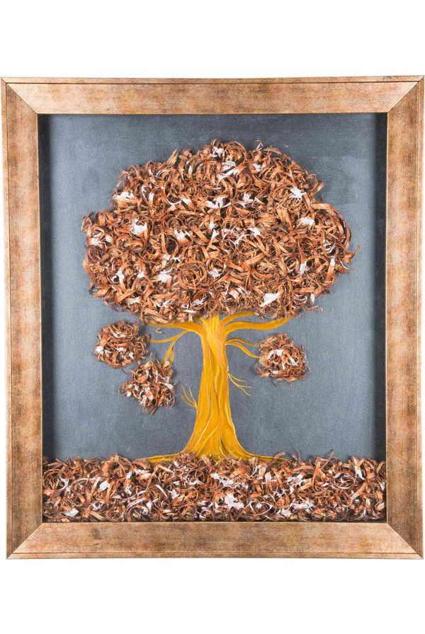 Tiny Tree - Copper - Hand painted art combined with crafty wooden chips - Size 23.6(H) Inch * 20.5(W) Inch