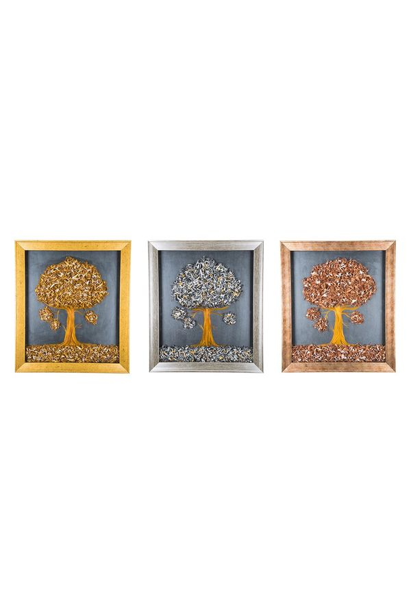 Tiny Tree - Combo offer; Hand painted art combined with crafty wooden chips - Size 23.6(H) Inch * 20.5(W) Inch of each art