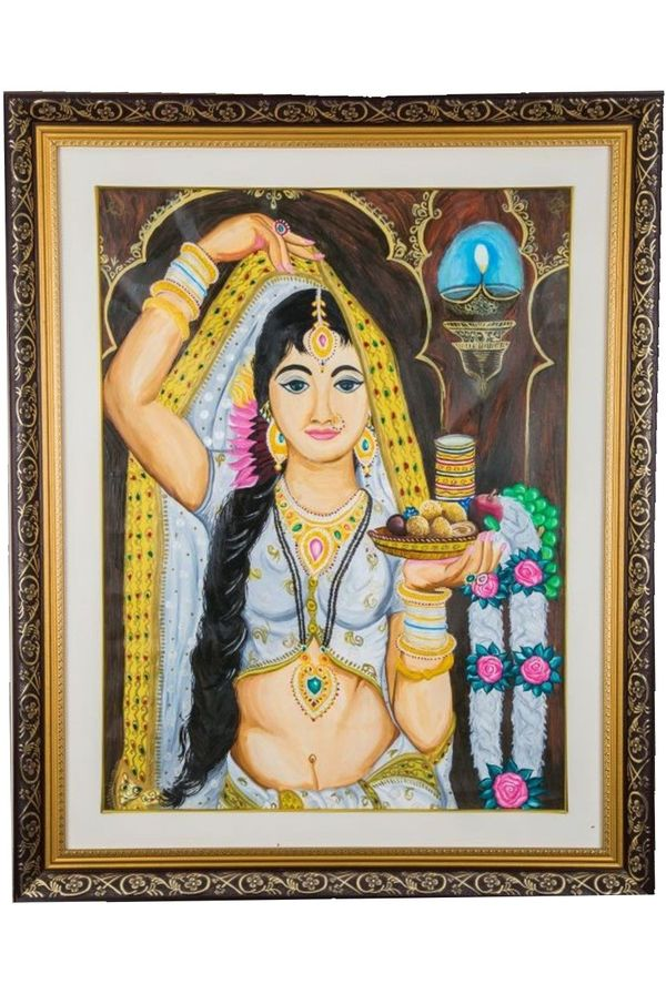 Gorgious Lady dressed up for God worship - Hand painted art - Size 30.3(H) Inch * 24.3(W) Inch