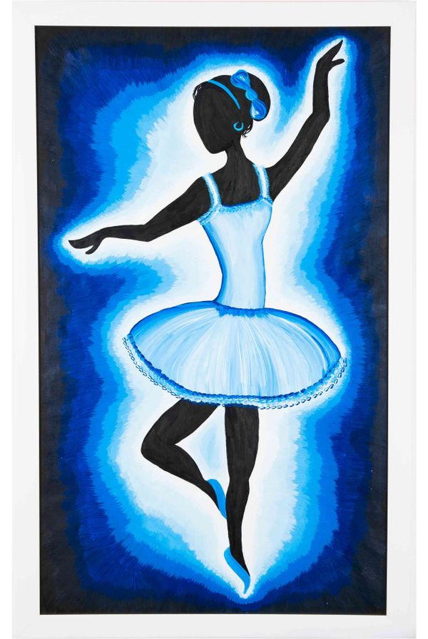 Western move rhythmically - Blue color; Hand painted art - Size 29.2(H) Inch * 18.2(W) Inch