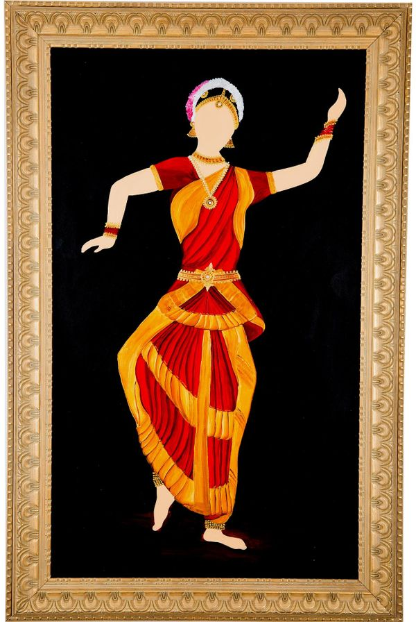 Classical move rhythmically - Red & Gold color; Hand painted art - Size 31.5(H) Inch * 20.3(W) Inch