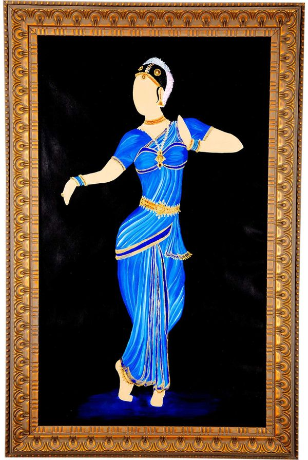 Classical move rhythmically - Blue color; Hand painted art - Size 31.5(H) Inch * 20.3(W) Inch