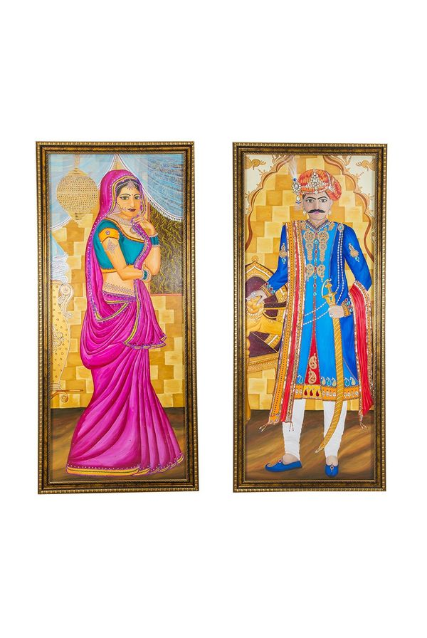 """Maharani & Maharaja - Combo offer; Hand  painted art combined with crafty jewellery -  Size 75(H) Inch * 35(W) Inch of each art"""