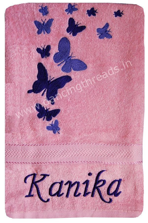 Buy personalized rakhi gift bath towel butterflies baby pink personalized rakhi gift bath towel butterflies baby pink color negle Image collections