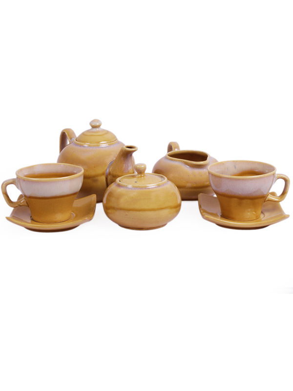 sc 1 st  Vareesha & Yellow Stoneware Tea Pot with Cups Morning Set