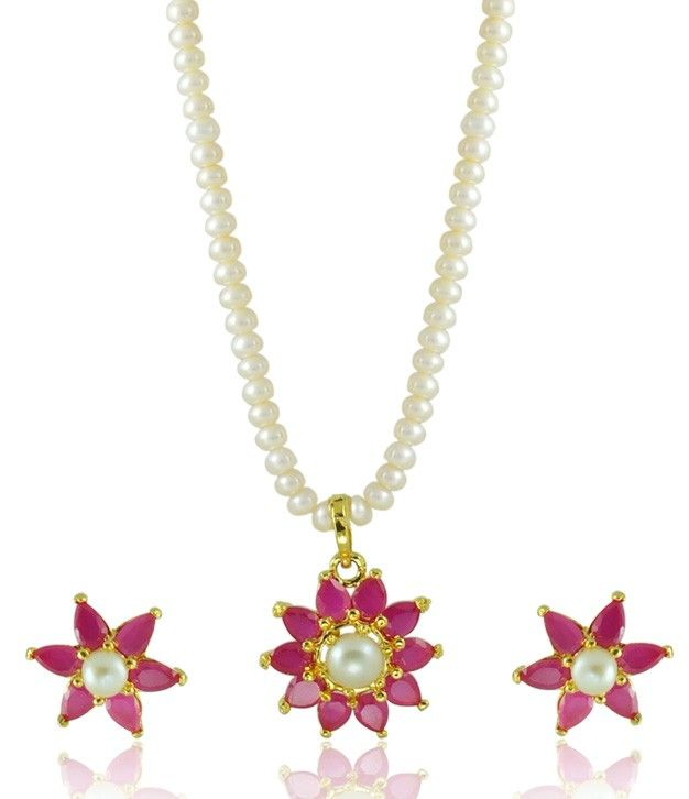 Alluring Pearls White and Pink Necklace Set