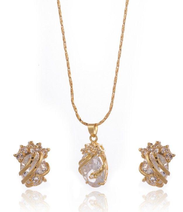 CZ Stone Pendant Set with Chain