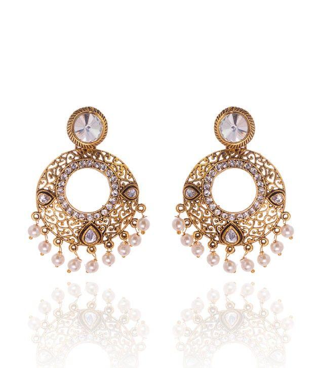Charming Golden Cz Stone Earrings