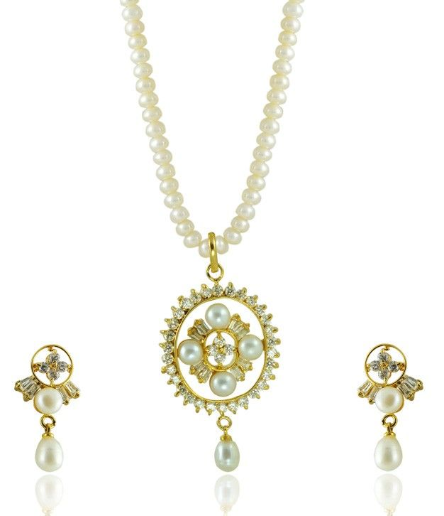 Classy Fusion of Serene White Pearls and Royal AD stones in a Necklace Set