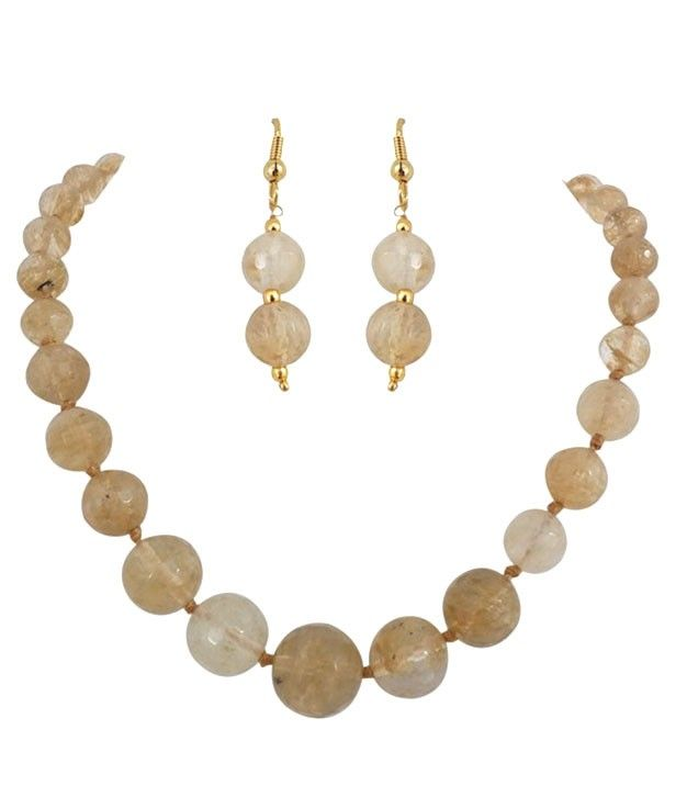 Graceful Semi Precious Golden Color Necklace Set