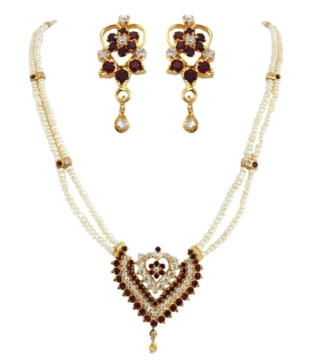 Magnetic A.D Maroon Pearl Set